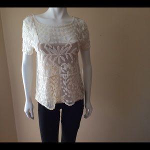 Zara embroidered mesh top
